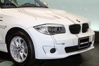 「BMW ActiveE」 フロント周り。バッテリーや補記類が大きいため、ボンネットが「もっこり」と膨らんでいる点に注目。