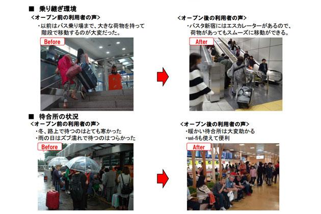 バスタ新宿の乗り継ぎ環境 Befor After
