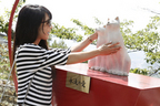 尾道・千光寺公園にある恋人の聖地モニュメントは、尾道で良く見かける猫が鎮座する。