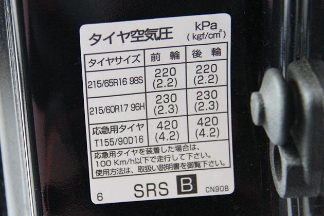 クルマに記載されているタイヤの指定空気圧は上限?下限?