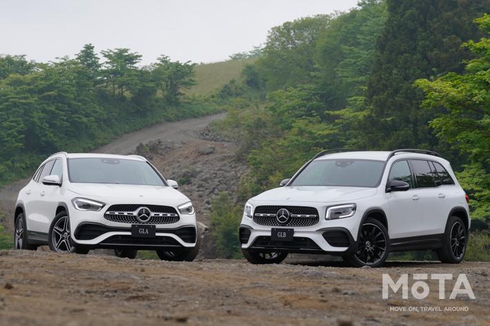 """2代目GLA(左)には兄弟車として3列シートSUV「GLB」(右)も新設定された,ボディサイズが拡大し、見た目にも""""立派""""になった2代目GLA"""
