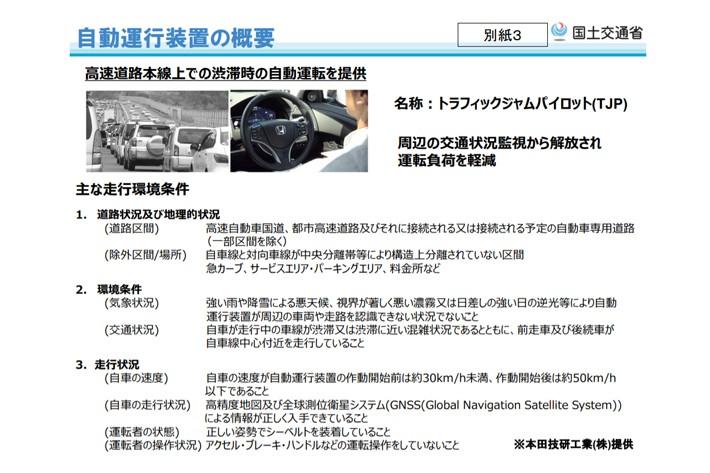 ホンダの自動運転レベル3(TJP:トラフィックジャムパイロット)概要