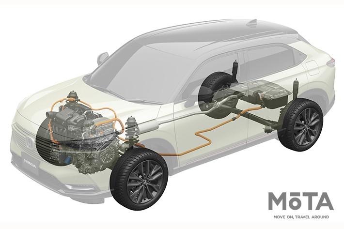 新型ヴェゼルのe:HEV+4WDシステム