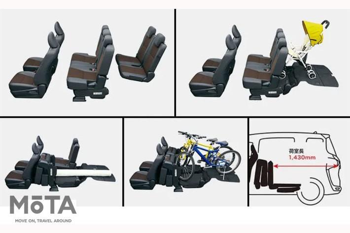 シエンタのサードシートの収納は、セカンドシートの床下に滑り込ませるようなイメージだ[写真はトヨタ シエンタ公式サイト(https://toyota.jp/sienta/)より]